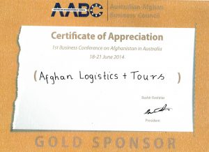 Australian Afghan Business Counil AABC Certificate