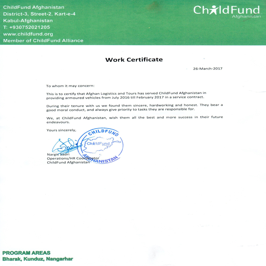 Child Fund Experience Certificate For Afghan Logistics