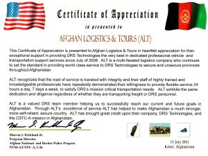 DRS Certificate for Afghan Logistics