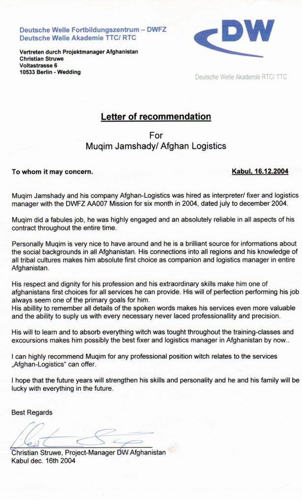 Deutsche Welle Certificate for Afghan Logistics