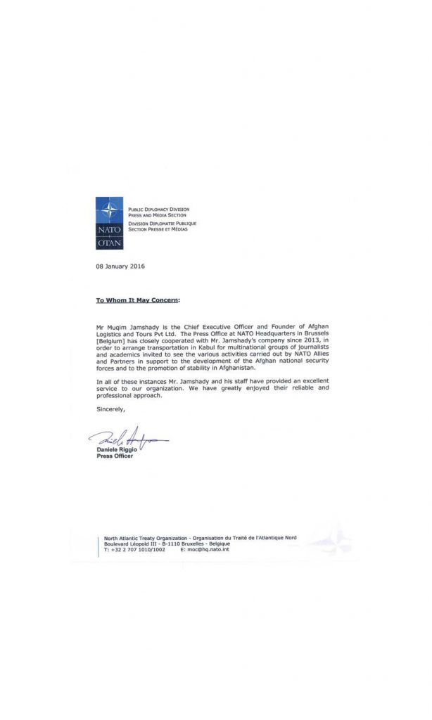 NATO Certificate for Afghan Logistics and Tours