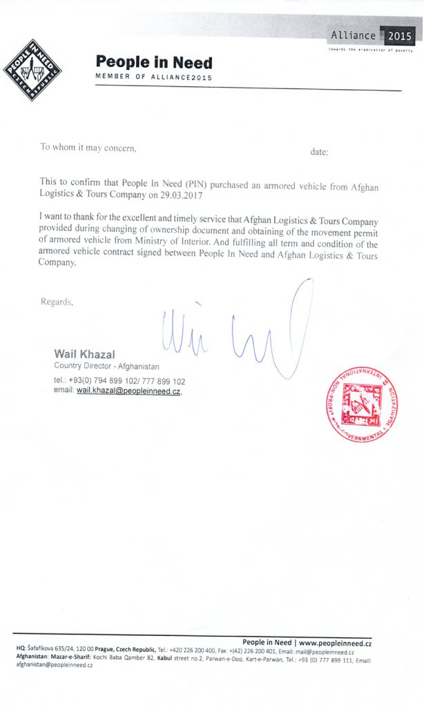 People in Need Certificate for Afghan Logistics