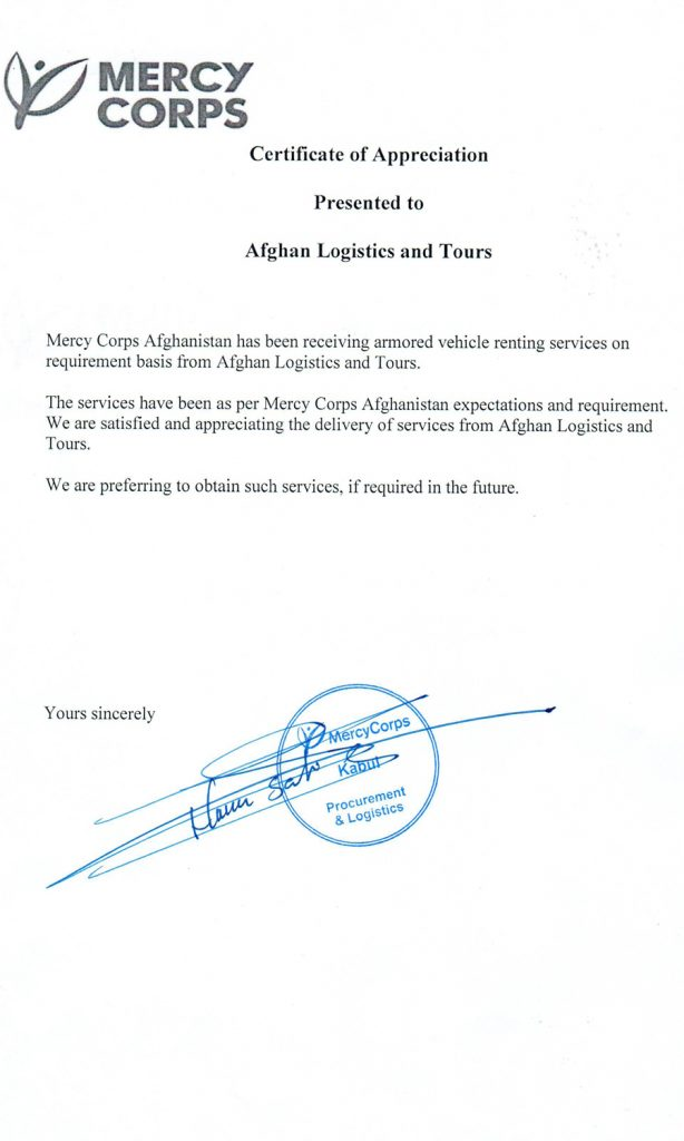Mercy Corps Certificate Afghan Logistics
