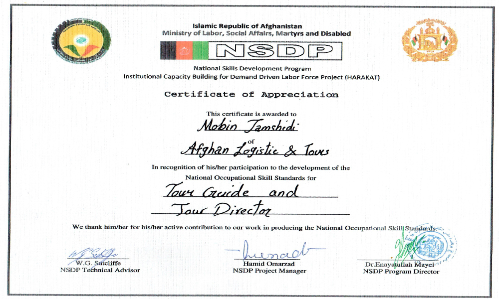 NSDP for Tourism Training Certificate