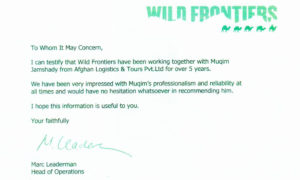 Wild Frontiers Certificate for Afghan Logistics
